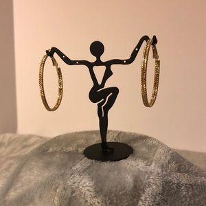 Jewelry - NWOT ~ Gold Double-Stranded Oval Hoop Earrings